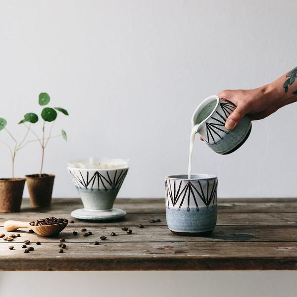 ceramic coffee mug pourer dripper by julia smith - the future kept